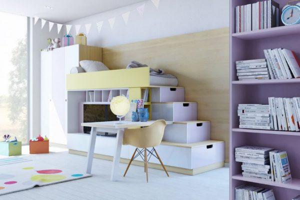 phòng ngủ giường tầng màu tím