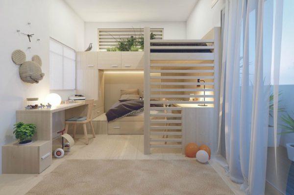 phòng ngủ giường tầng nội thất gỗ