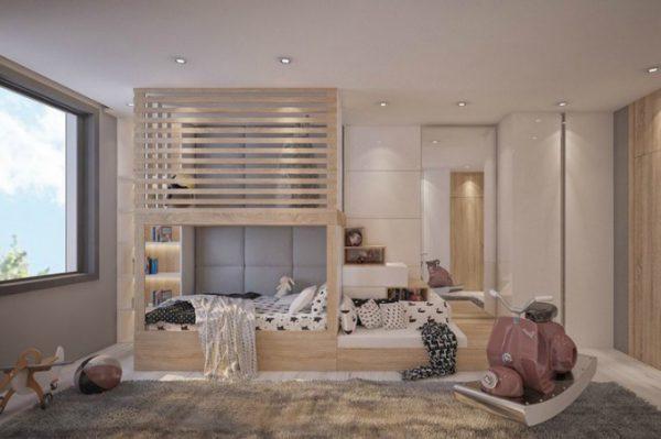 giường tầng có vách ngăn
