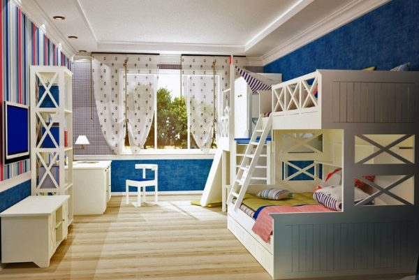 phòng ngủ màu xanh trắng chủ đạo