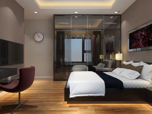 phòng ngủ đen và nội thất gỗ