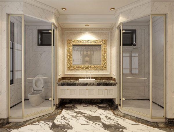 phòng tắm của thiết kế nhà mái thái tân cổ điển