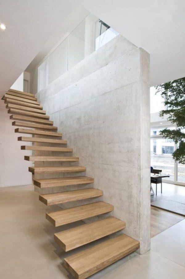 cầu thang không tay vịn chất liệu gỗ