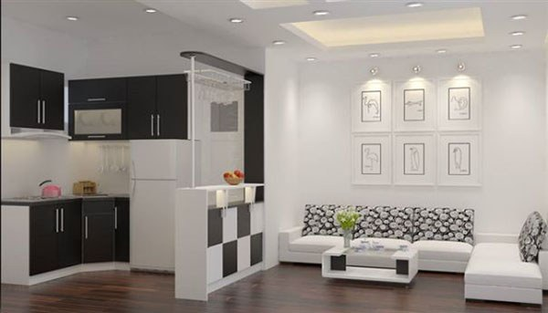 Quầy bar phân chia không gian phòng
