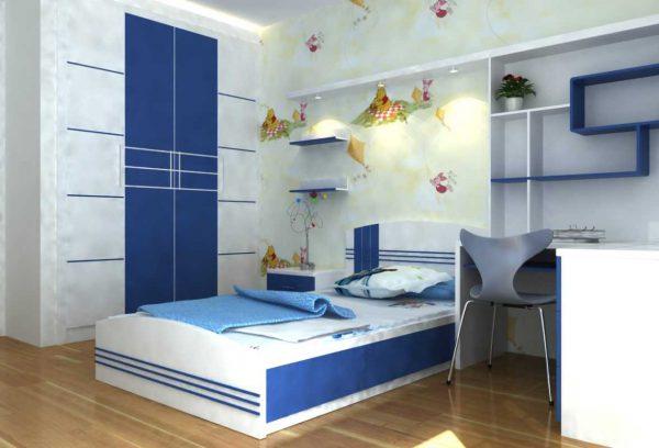 Thiết kế phòng ngủ cho con trai lớn sử dụng tông màu xanh dương