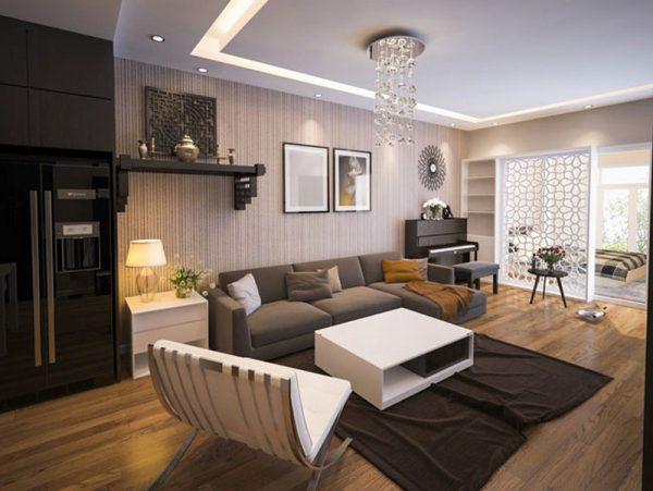 phòng ngủ kết hợp phòng khách hiện đại, tiện nghi