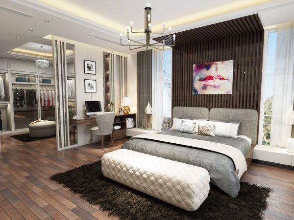 Phòng ngủ kết hợp phòng thay đồ tăng tối đa công năng sử dụng