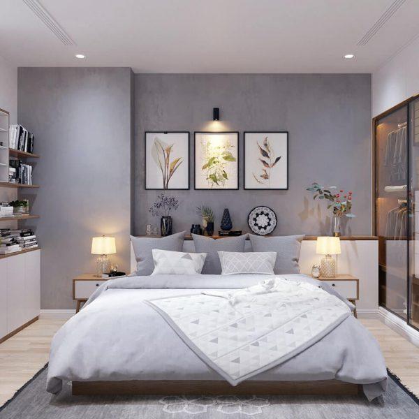 Phòng ngủ với tông màu trung tính, hài hòa
