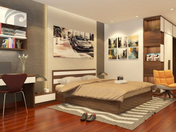 Phòng ngủ với tông màu ấm