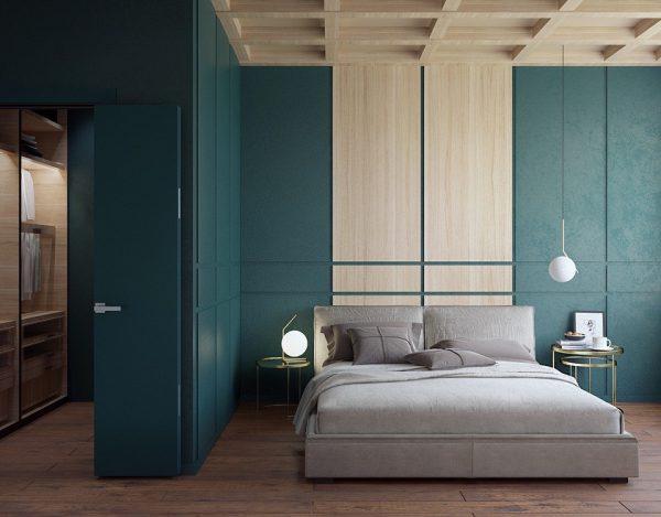 phòng ngủ với màu xanh độc đáo, ấn tượng