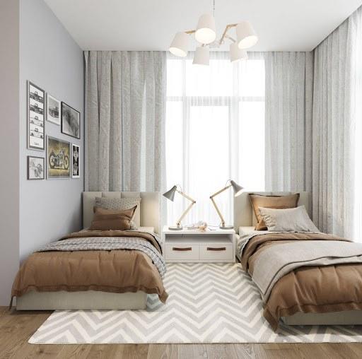Bố trí giường tạo không gian thoải mái