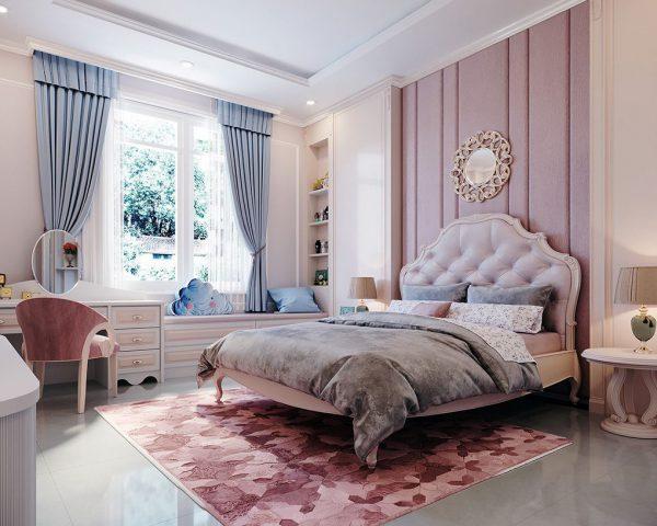 Phòng ngủ được thiết kế với gam màu nhẹ nhàng, nữ tính