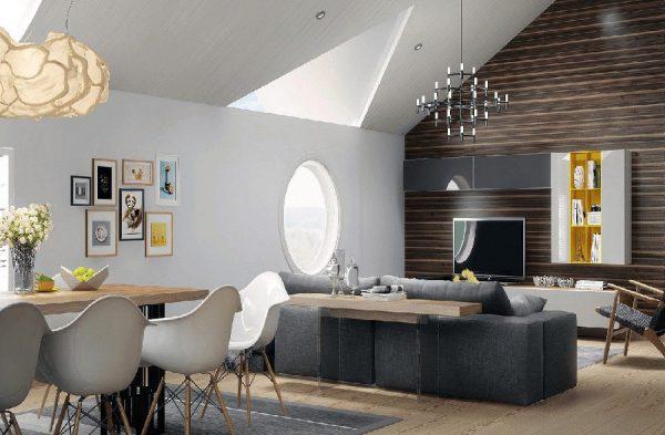 Mẫu phòng khách liền bếp hiện đại, tiện nghi