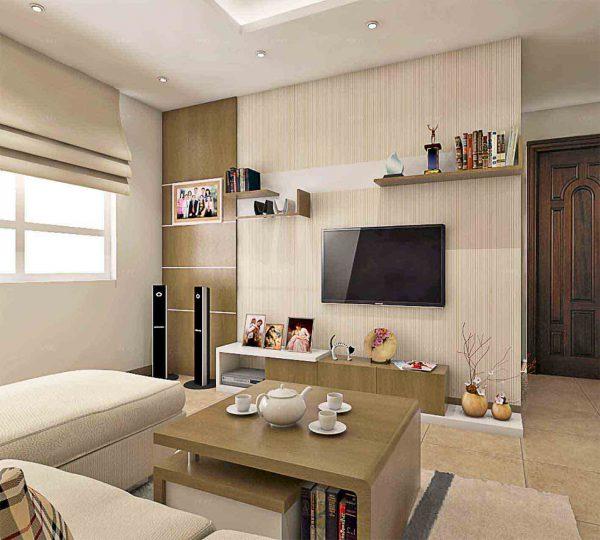 Thiết kế phòng khách hiện đại với tivi treo tường