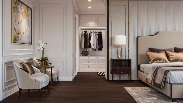 vách ngăn kín đáo tạo sự riêng tư cho phòng ngủ kết hợp phòng thay đồ