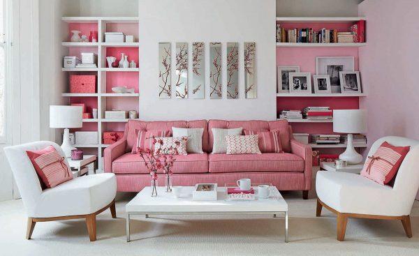 Không gian tiếp khách kết hợp đồ nội thất màu trắng
