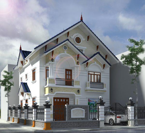 Mẫu biệt thự đẹp 3 tầng có tầng áp mái