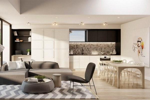 Phong cách thiết kế hiện đại cho không gian sống với các tông màu trầm