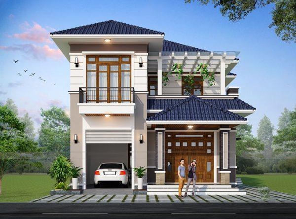 biệt thự mini 2 tầng với kiến trúc mái Thái đơn giản, hiện đại