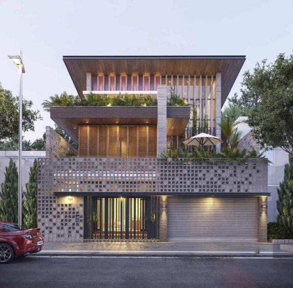 Biệt thự mini 2 tầng có gara để xe với kiến trúc lệch tầng độc đáo