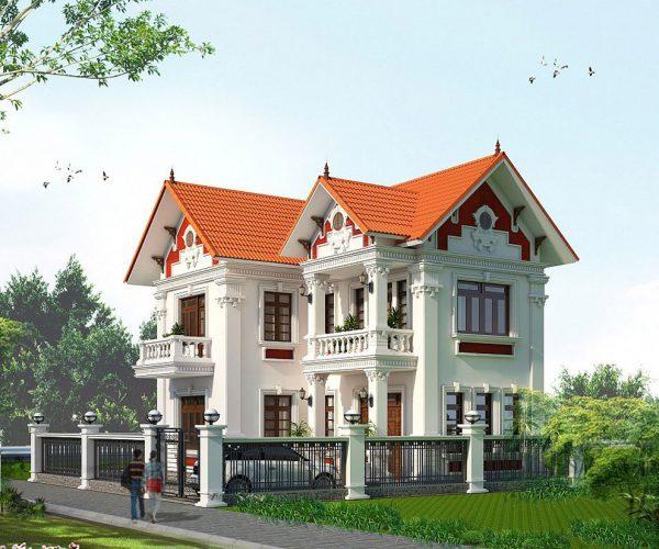 Mẫu biệt thự đẹp ở nông thôn với kiến trúc tân cổ điển