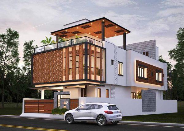 Biệt thự 3 tầng đẹp hiện đại với lam che nắng