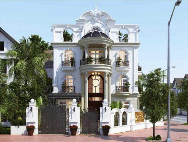 Mẫu biệt thự 3 tầng với tông màu trắng nổi bật