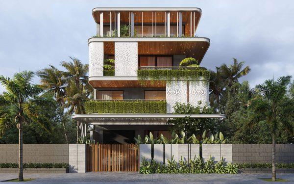Mẫu biệt thự 4 tầng đẹp phong cách hiện đại với không gian xanh gần gũi