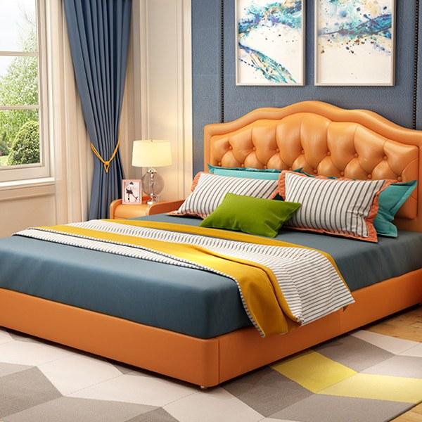 giường bọc da màu cam trẻ trung và ấn tượng
