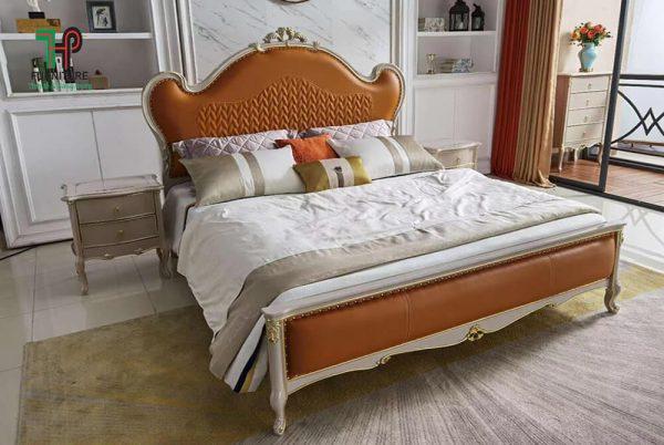 Giường ngủ với đầu giường bọc da cao cấp