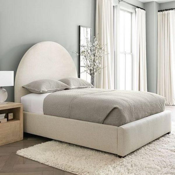 giường ngủ kết hợp với sofa tone trắng xám