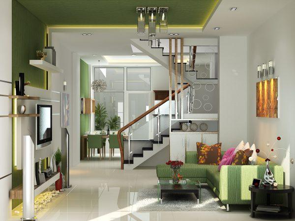 Cầu thang thông tầng phân chia phòng khách và phòng bếp