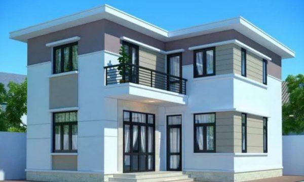 Mẫu nhà 2 tầng mái bằng đơn giản với các hình khối rõ ràng