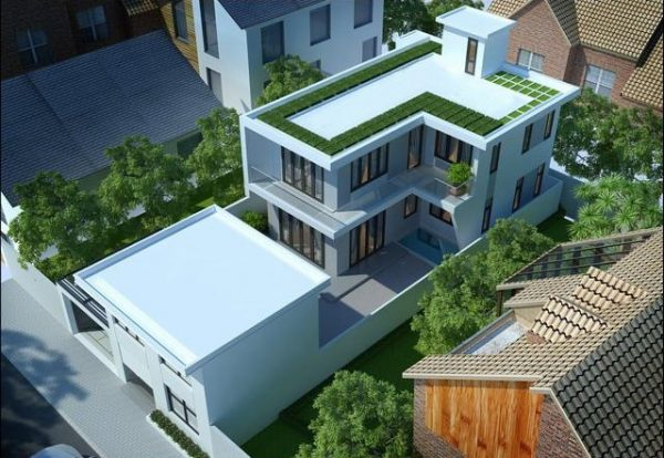 Ngôi nhà mái bằng được thiết kế đơn giản nhưng rất thu hút