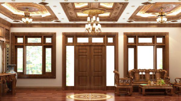 ứng dụng gỗ tự nhiên trong bài thiết kế nội thất