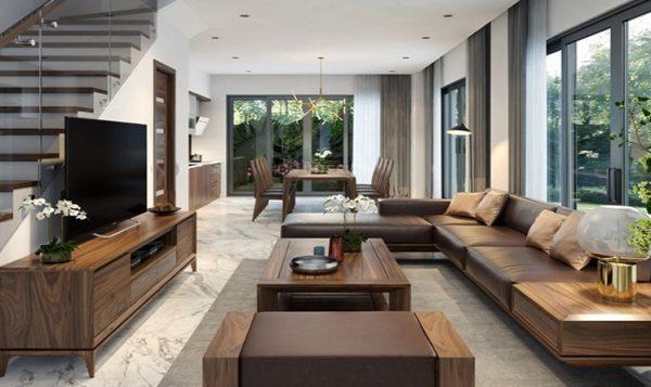 phòng khách với nội thất gỗ