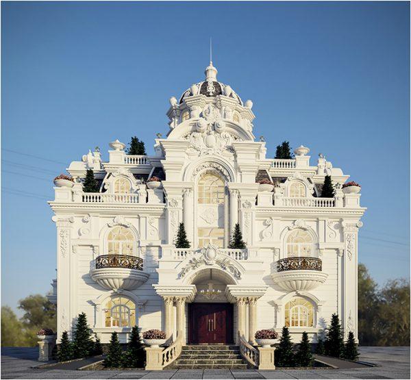 Mẫu biệt thự cổ điển với những đường nét uyển chuyển và hệ thống cột trụ vững vàng
