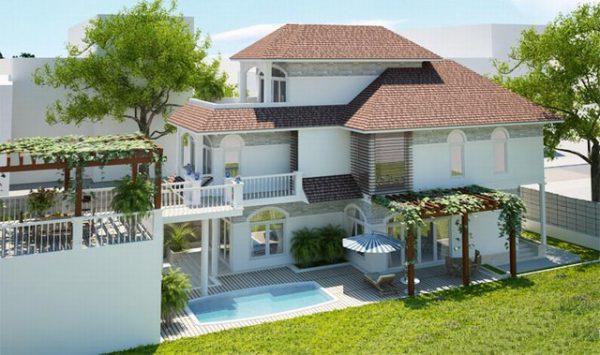 Phối cảnh kiến trúc mẫu biệt thự đẹp có sân vườn 2 tầng có áp mái