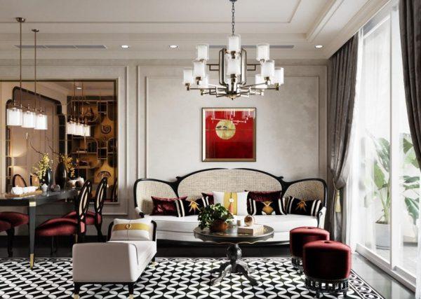 phòng khách phong cách đông dương đỏ vàng