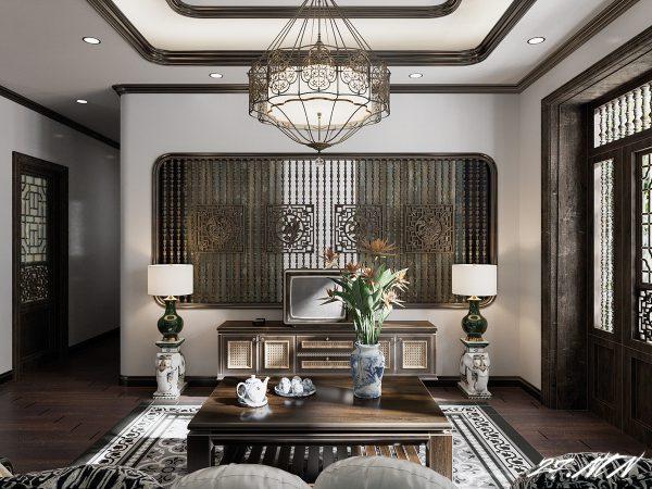 Mẫu phòng khách phong cách đông dương có họa tiết độc đáo