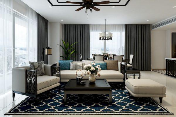 thiết kế nội thất phòng khách indochine style