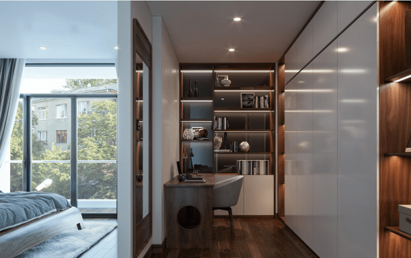 Phòng ngủ master 40m2 có khu để đồ riêng