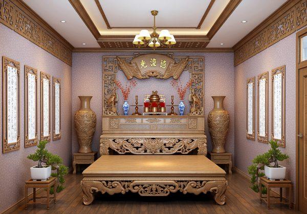 bàn ghế thờ làm từ gỗ