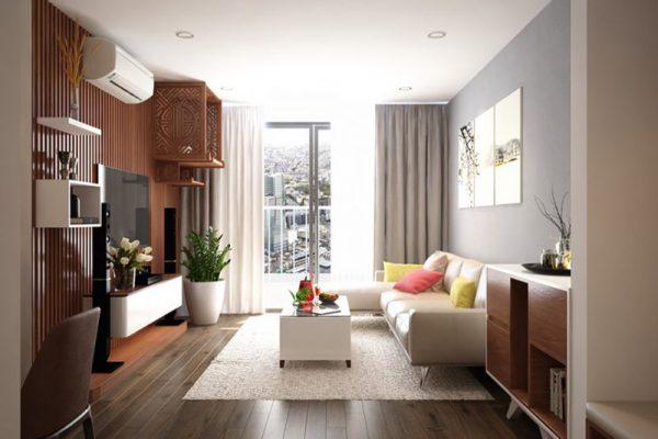 Phòng khách 15m2 với sofa văng nhỏ gọn