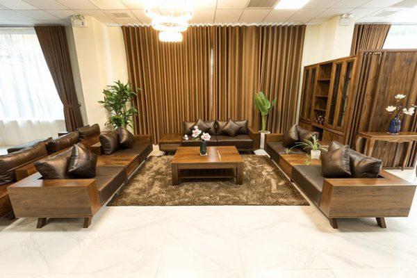 sofa gỗ óc chó chữ U