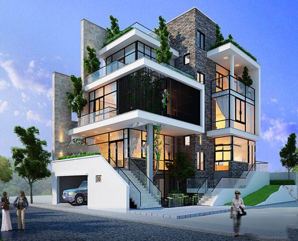 Biệt thự 4 tầng đẹp thiết kế linh hoạt: 3 tầng, 1 tum và bán hầm