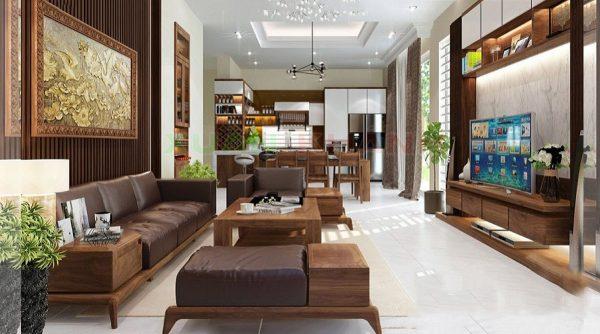 sofa gỗ óc chó cho phòng khách