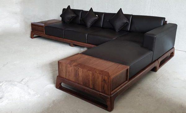 Sofa gỗ óc chó đẹp cho chung cư
