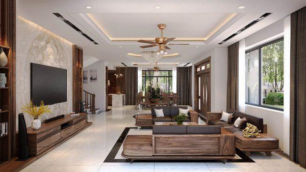 Bộ ghế sofa gỗ kết hợp 4 văng lớn