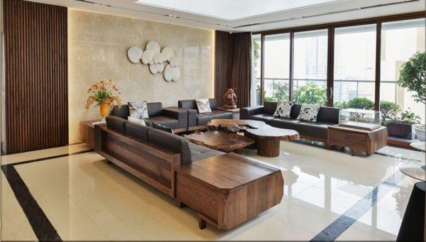 Bộ sofa gỗ óc chó chữ U
